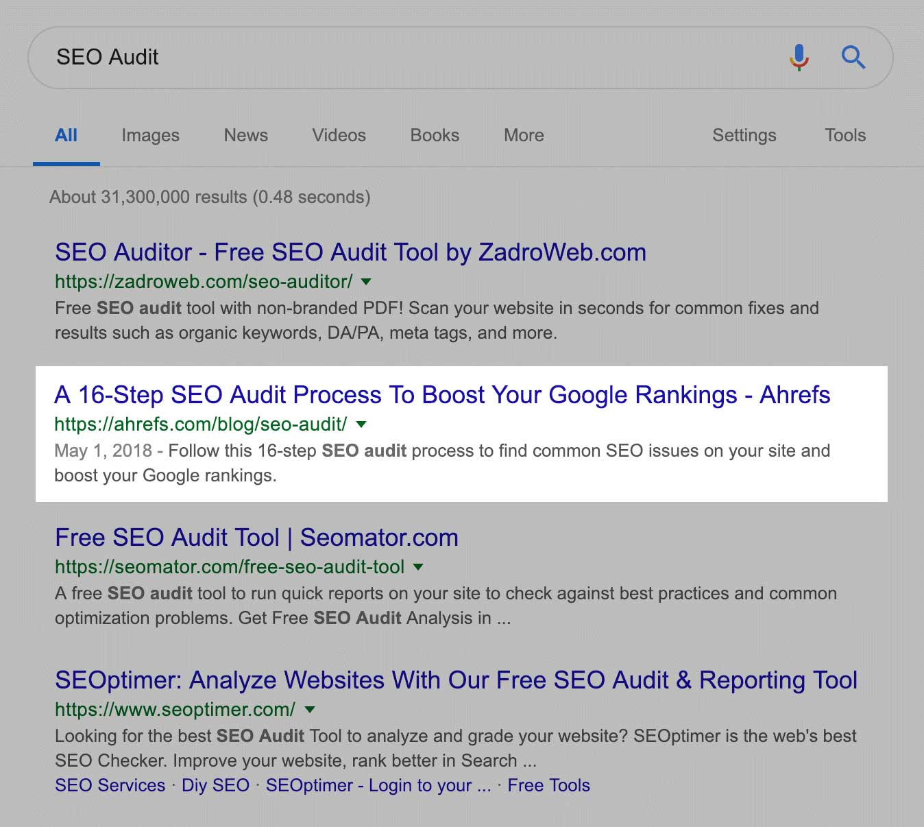 ahref in seo audit serp