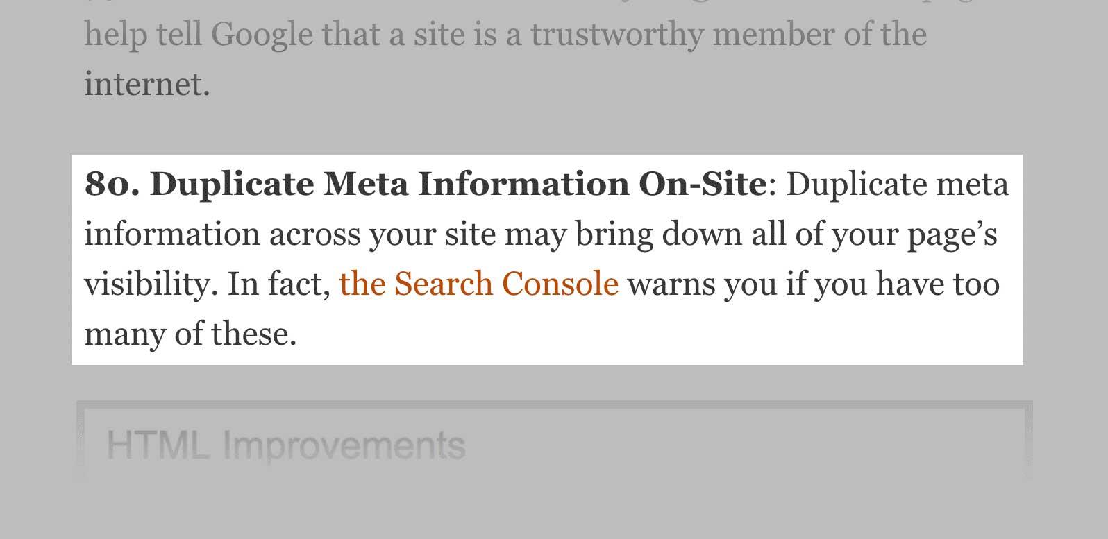 duplicate meta information