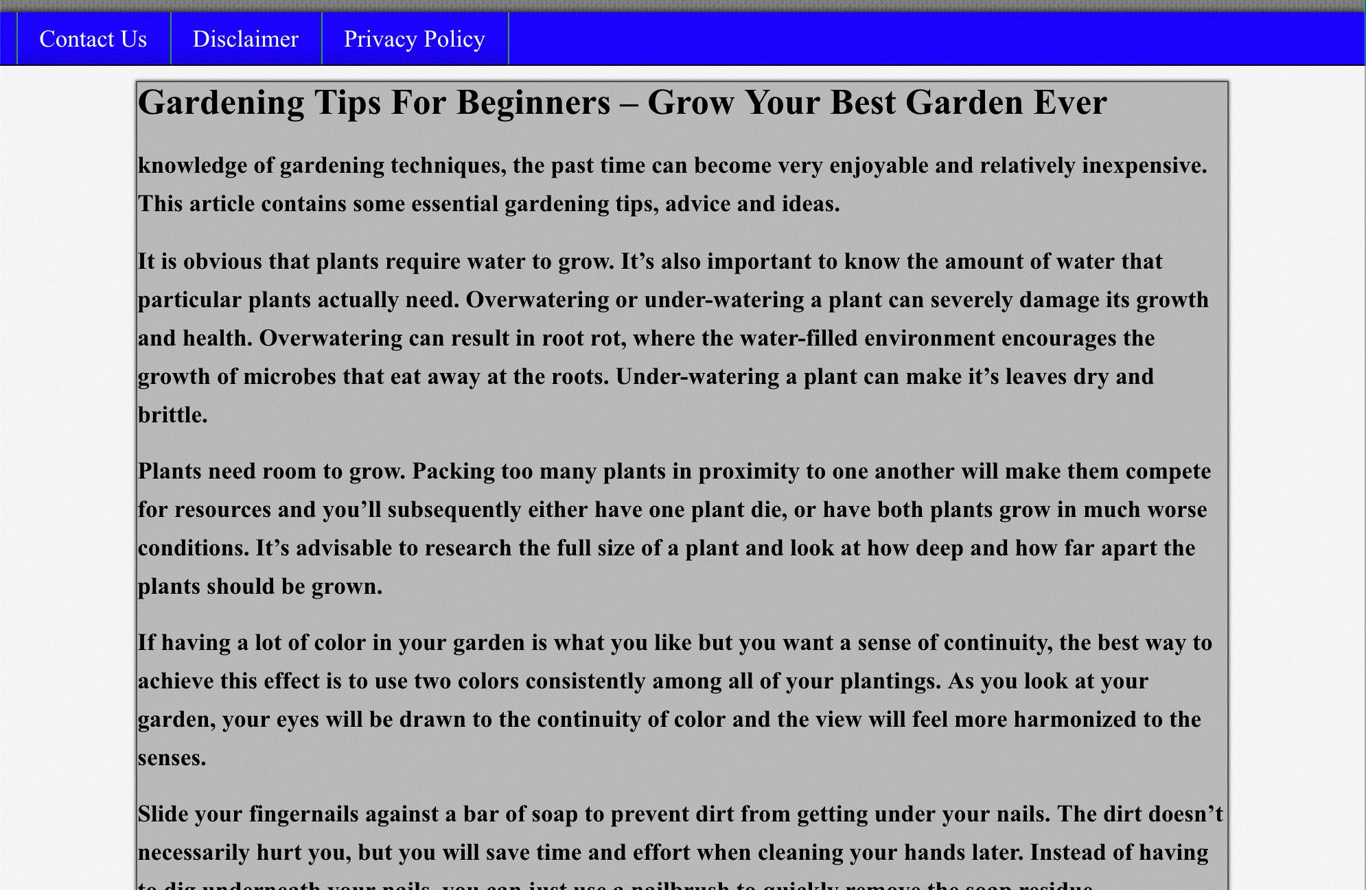 gardening tips for beginers