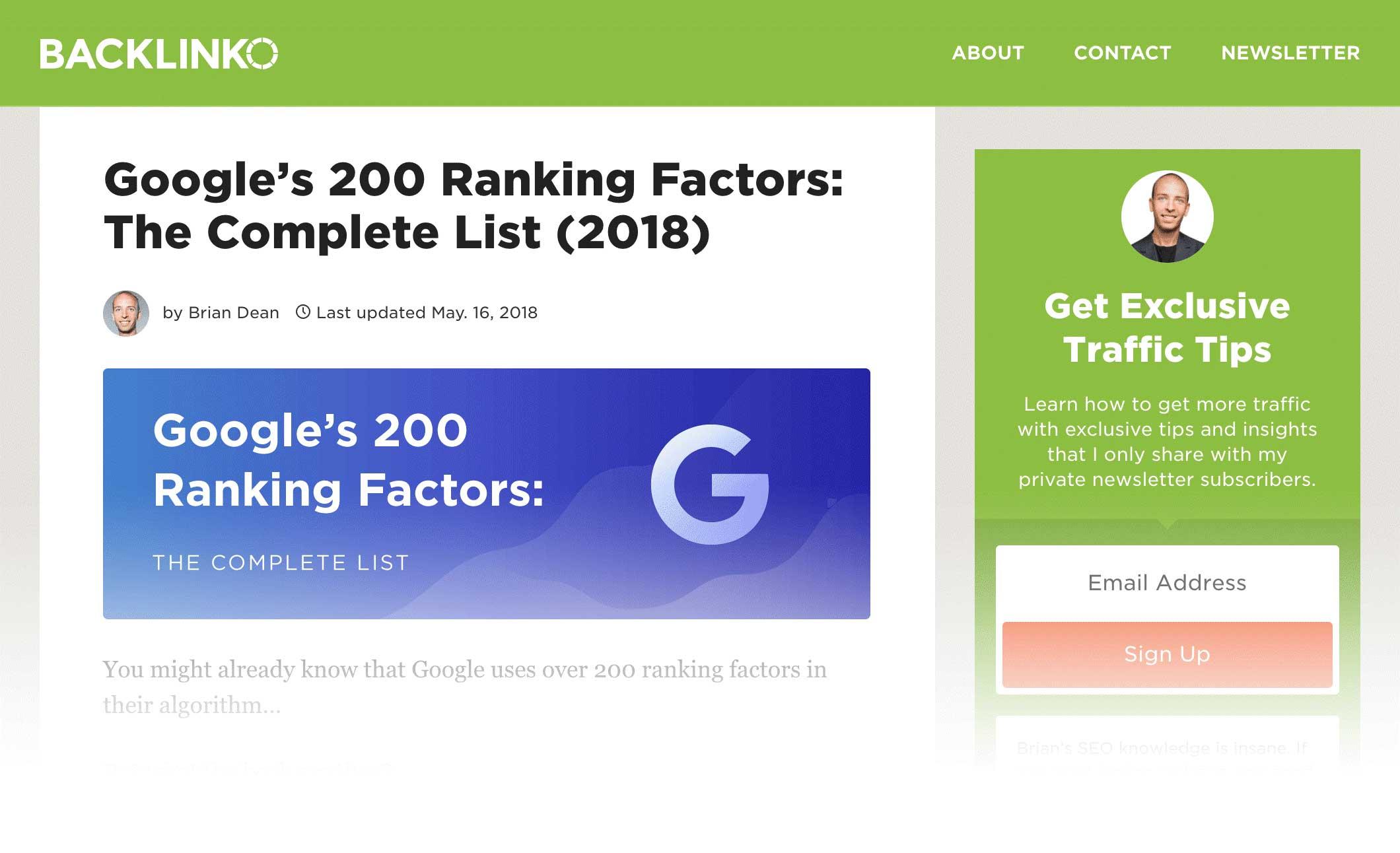 google 200 ranking factor