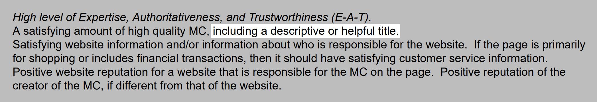 دستورالعملهای گوگل حاکی از آن است که عناوین توصیفی مهم هستند .