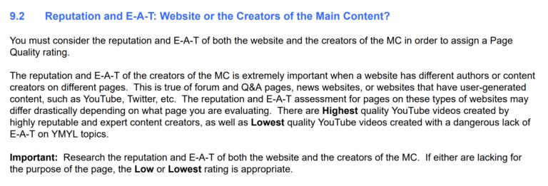 گواهی های کیفیت گوگل به شهرت خارج از سایت نگاه می کنند
