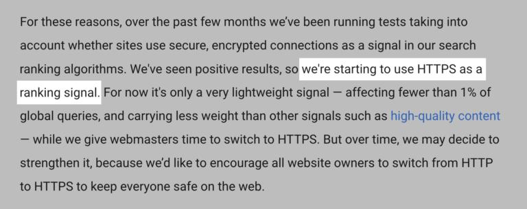 گفته گوگل در مورد سایت های دارای HTTPS