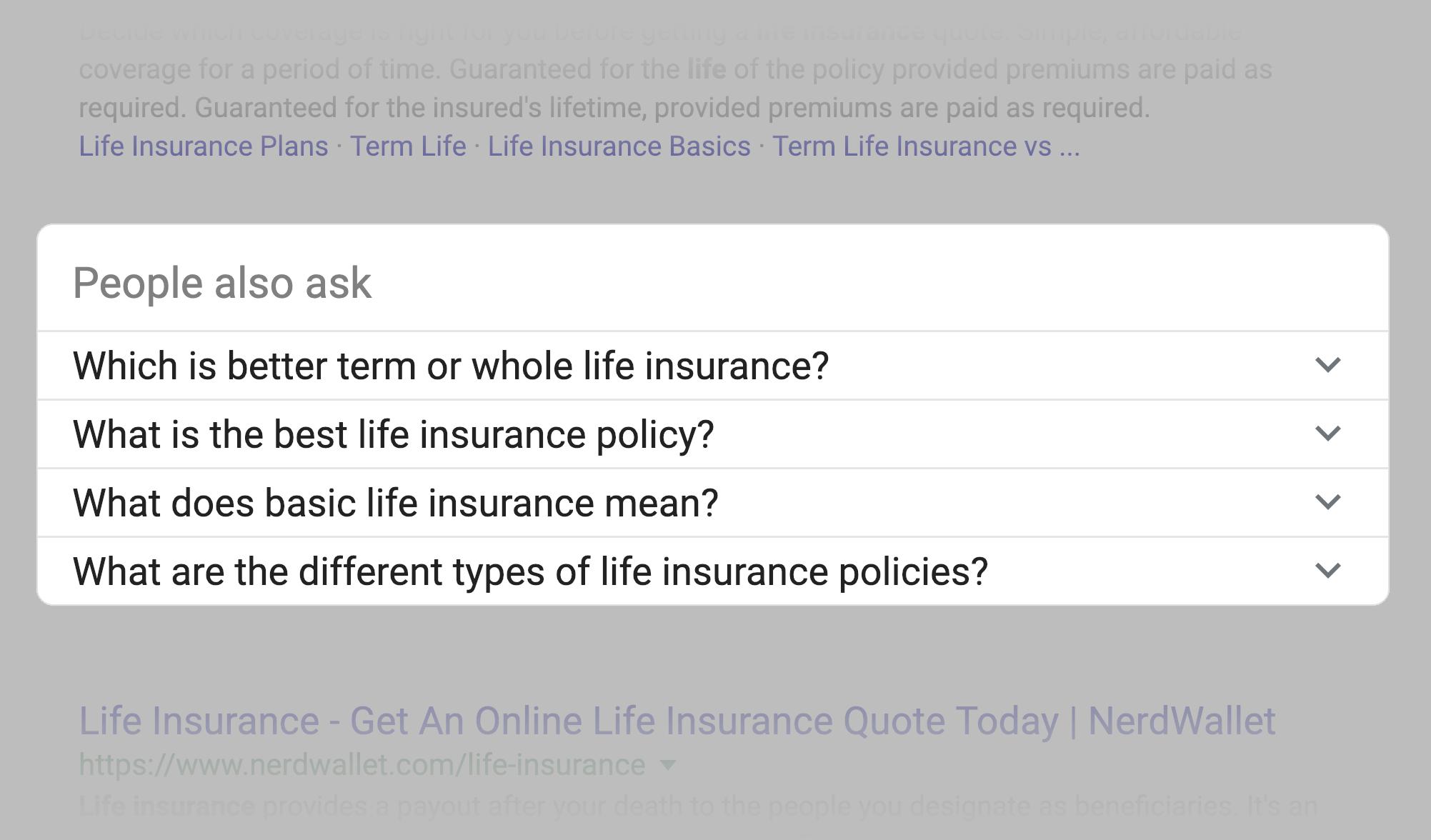 جعبه مردم میپرسند در نتایج گوگل