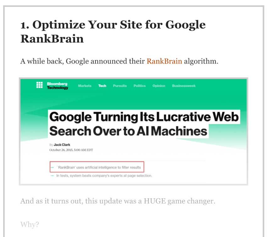 optimize your site for google rank brain