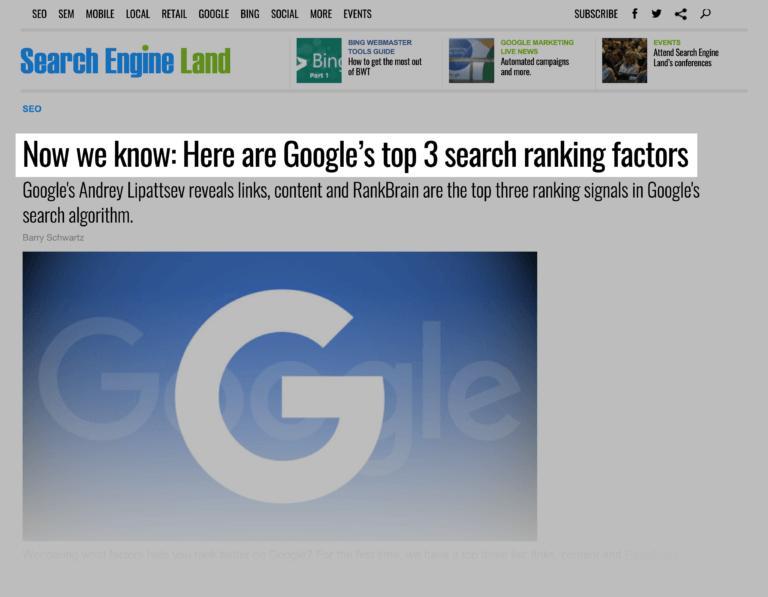 RankBrain یکی از عوامل رتبه بندی رتبه بندی گوگل است