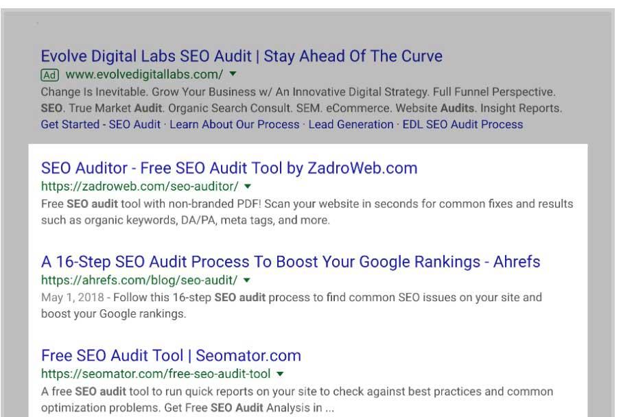 seo -audit serp google