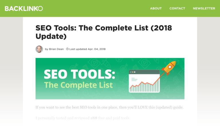 صفحه ای که 150 ابزار سئو را لیست کرده است