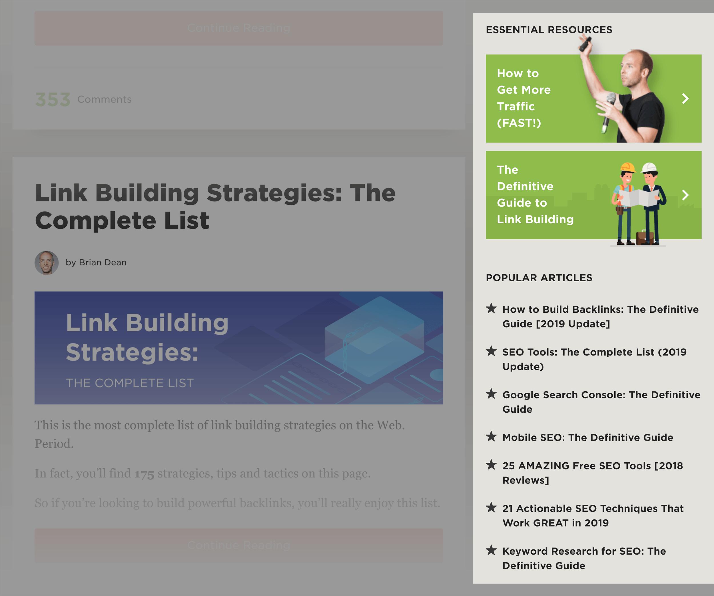 لینک های موجود در sidebar سایت بک لینکو