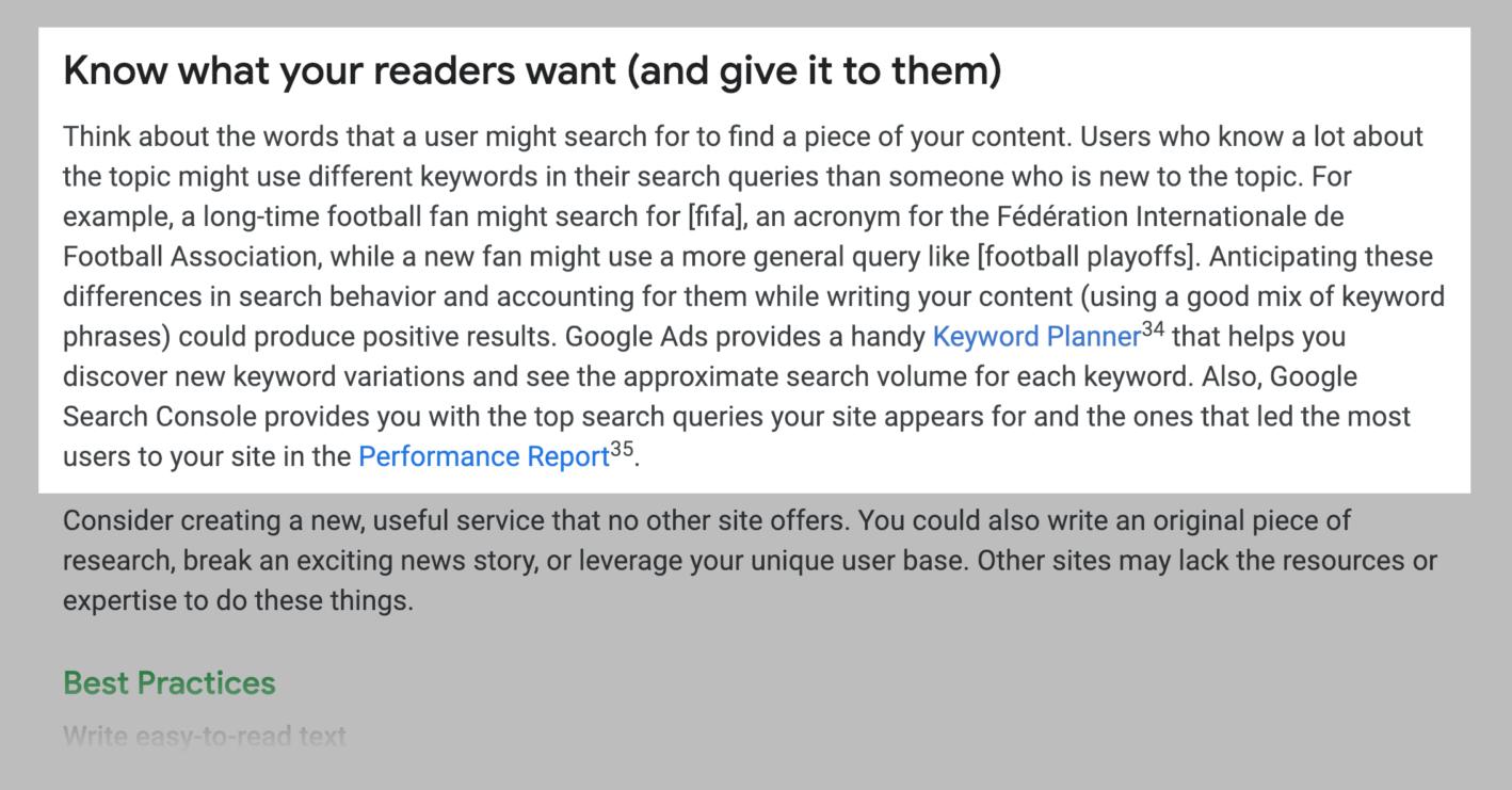 گوگل میگوید از کلمات کلیدی استفاده کنید