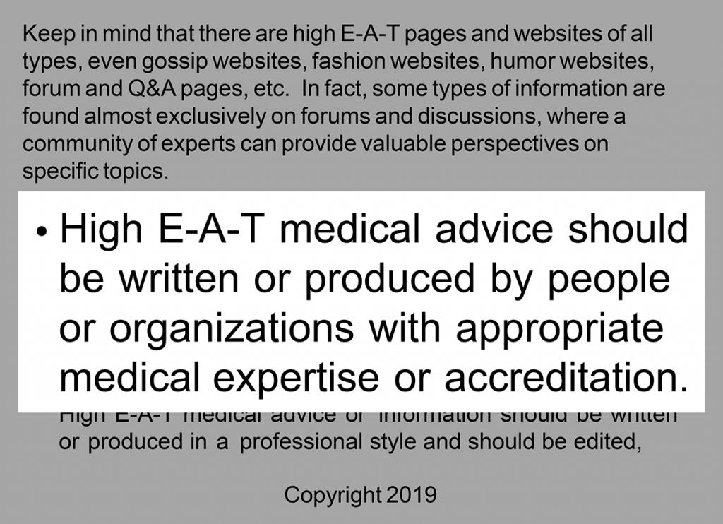 توصیه گوگل برای ساخت محتوای تخصصی پزشکی طبق E-A-T