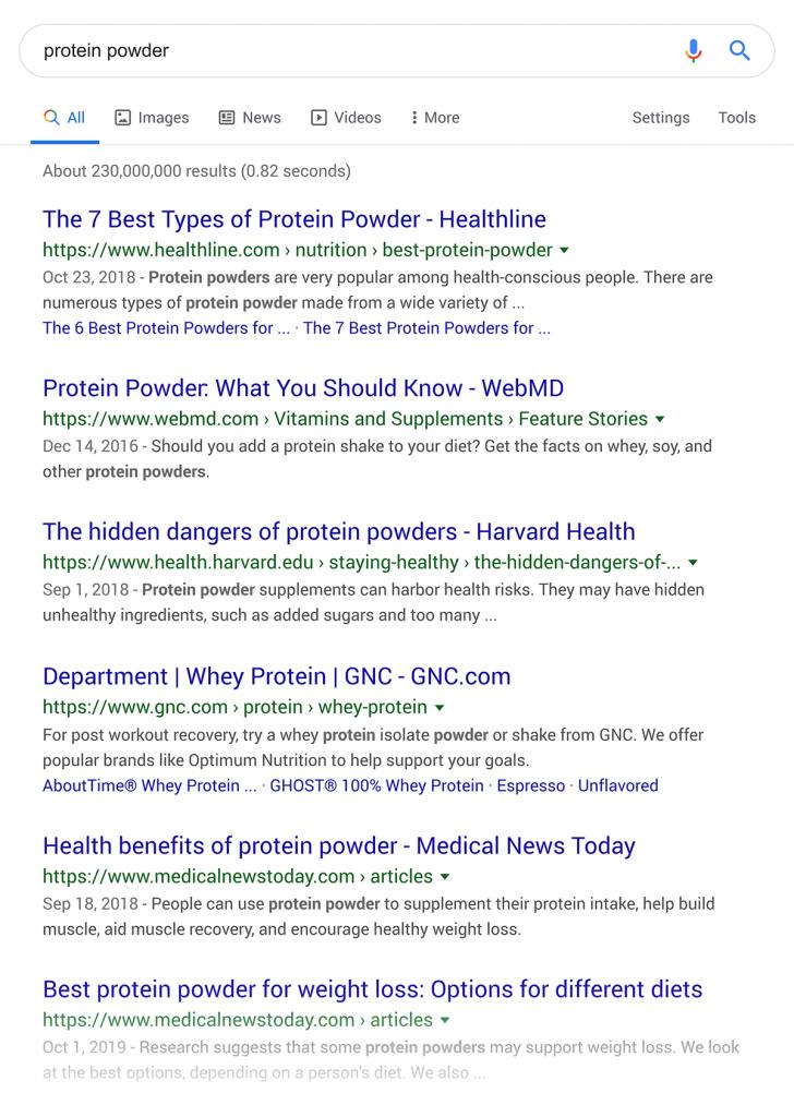 نتایج جستجوی گوگل در رابطه با پودر پروتئین