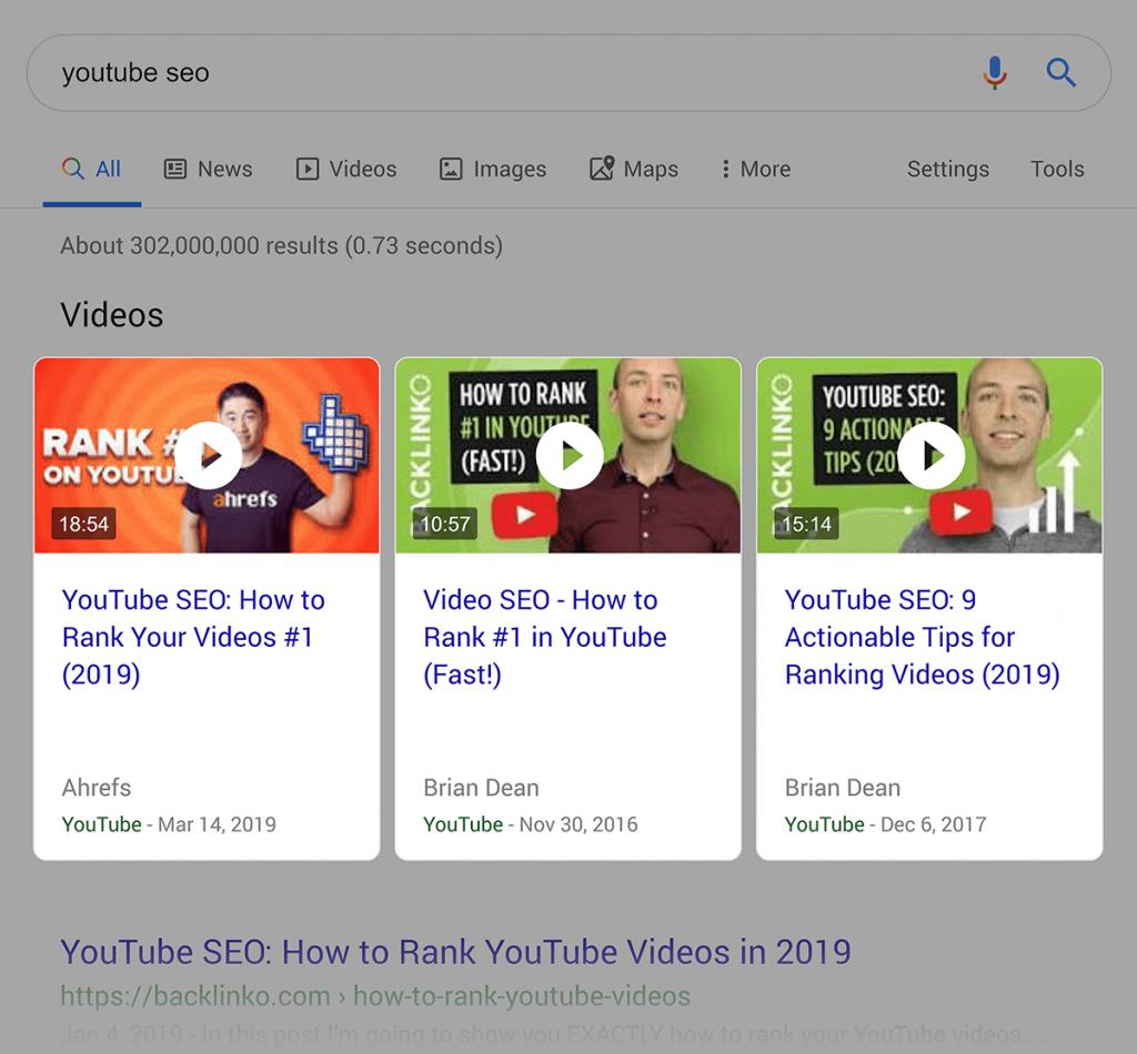 نتایج جستجوی گوگل همراه با نتایج ویدیو