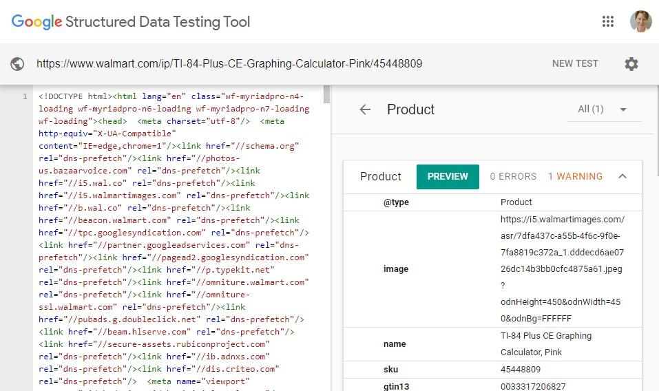 از ابزار تست داده ی ساختار یافته گوگل برای شناسایی و اعتبارسنجی داده های ساختار یافته استفاده کنید. این مثال مربوط به صفحه ی یک محصول در سایت Walmart.com می باشد.