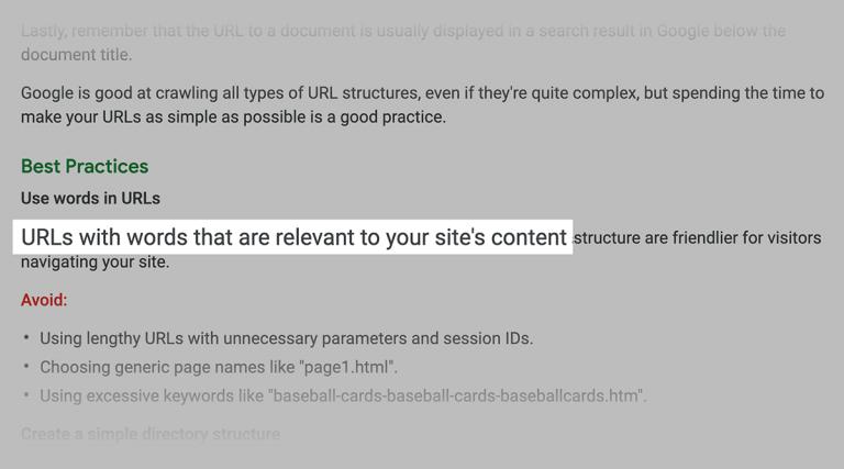 توصیه گوگل در مورد به کار گیری کلمات کلیدی موجود در محتوا و url