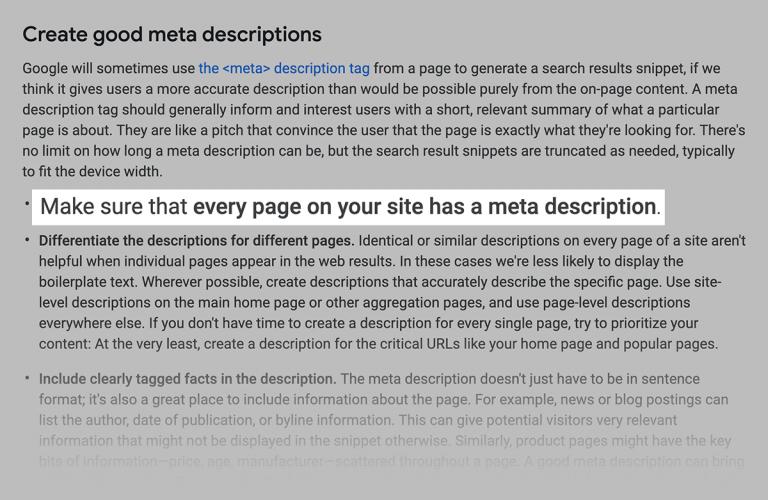 توضیح گوگل در مورد نوشتن توضیحات متای مناسب برای هر صفحه