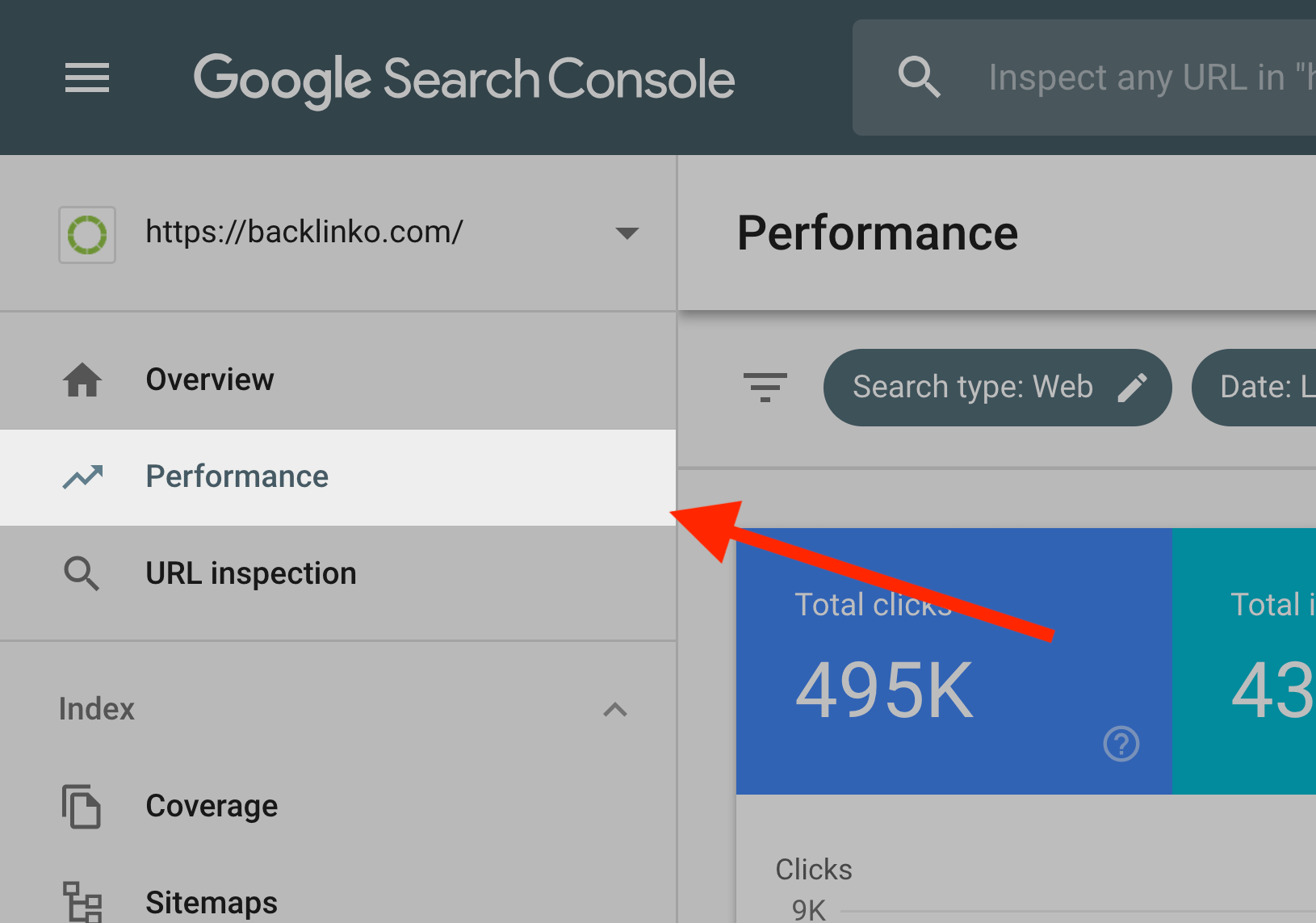 gsc click performance in sidebar