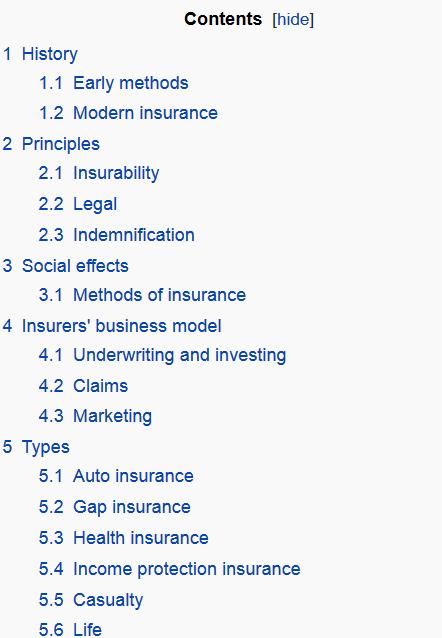 جدول های محتوای ویکی پدیا